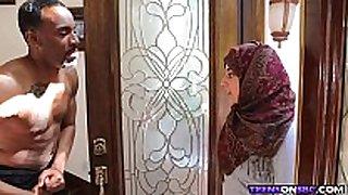 Arab hijab legal age teenager bonks large dark knob
