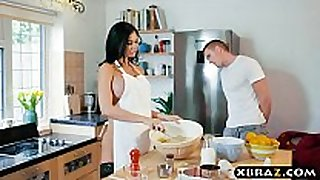 Cooking milf jasmine jae bakes a cake during the time that bei...