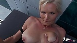 Povbitch breasty milf cleaning sexually excited white sweethearts was bad & pun...