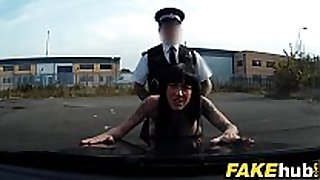 Fake cop sexy cyclist with large marangos and enchanting ass
