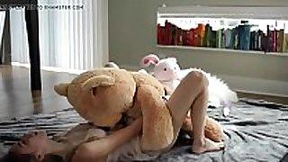 Petite juvenile blonde riding a teddy - evilcams.net