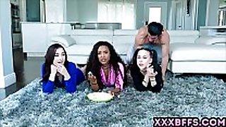 Movie night with 3 naughty schoolgirls