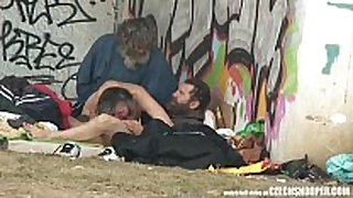 Pure street life homeless trio having sex ...