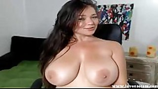 Big titted white housewife has multiple large O on webcam