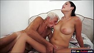 Dolly diore sucks off a grandpas schlong and sits...