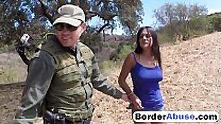 Border patrol catches hot civilian BBC whore and fu...