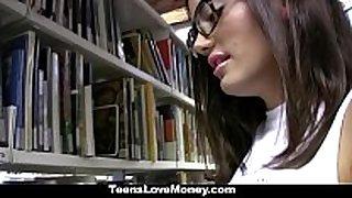 Teenslovemoney - library nerd bonks for cash