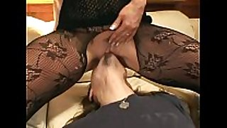 Pantyhose face sitting and irrumation sex on a daybed