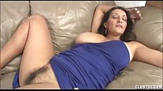 Busty milf tugjob and moist crack rubbing