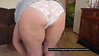 Mature granny in constricted white pants