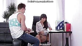 Real love doll goes wild at job interview scene 1