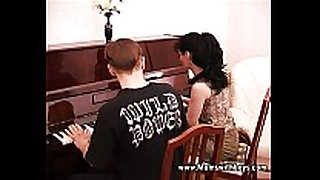 Mature horny piano tutor fucking her student