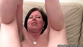 British mommy julie with her large milk cans and shaggy p...