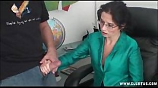 Milf cook jerking at the office