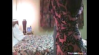 Old fellow bonks redbone hooker - hidden web camera.