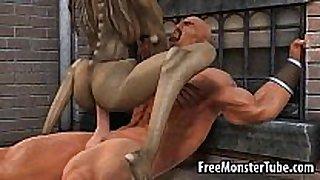 Hot 3d cartoon monster hottie getting fucked hard
