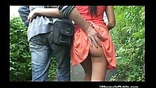 Brunette receives cock in public place