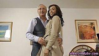 Ebony amateur in stockings screwed