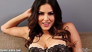 Sunnyleone striptease on the sofa