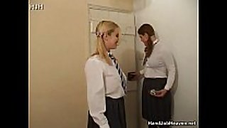 Two schoolgirl harlots in uniform smoking and wan...