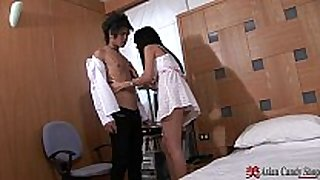 Asian slut with big boobs sucks and copulates