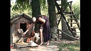 Slutty hirsute granny viviana copulates beneath the tre...