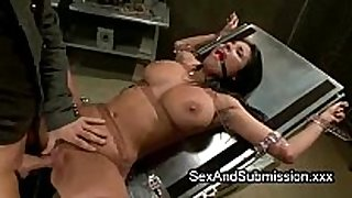 Huge hooters brunette hair hair acquires servitude sex