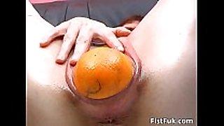 Horny slut with gaping vagina stuffs