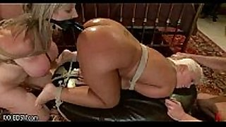Two lesbians play anal games with big rubber penis