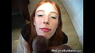Pale redhead polly pierson three-some bukkake