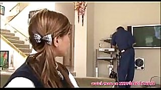 Hot schoolgirl screwed by the cable stud