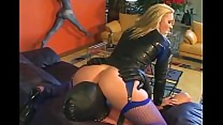 Femdom facesitting and fucking in fishnet lingerie