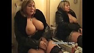 Busty sexually excited white hotwife in stockings masturbating in this ho...