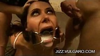 Cock loving doxy drinks cum and gets facual cumshots