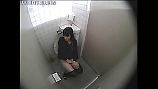 Girl caught masturbating in the washroom
