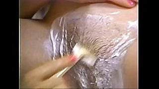 Retro porn - hawt golden-haired shaving dark brown hair