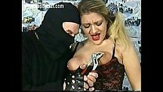Crying slave is hit with a whip on her shaved p...