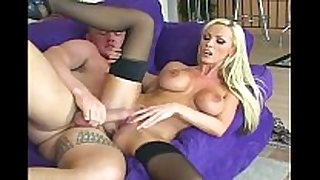 Busty blonde sex in stockings