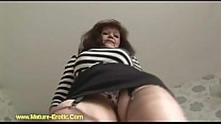Busty mature tanya in stockings striptease