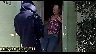 Surprise spunk in doorway