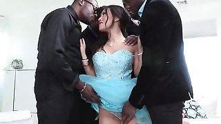 Exotic looking vixen Asa Akira sucks and fucks 4 BBCs at once