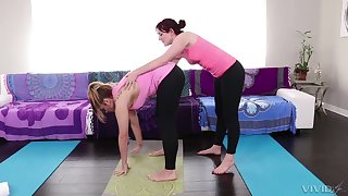 Two spunky lesbians make love after a good stretching