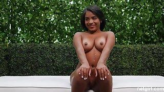 Black starlet with natural boobs shagged at casting