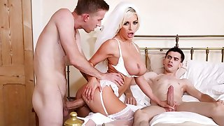 Naughty bride in white stockings banged by two cocky guys