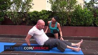 Bald-headed stallion fucks his insatiable yoga teacher